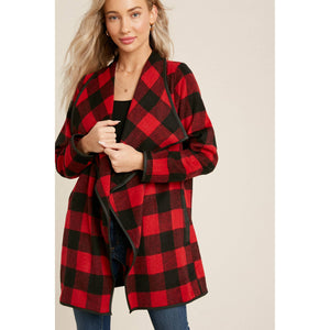 Bluivy - Buffalo Plaid Drape Front Jacket