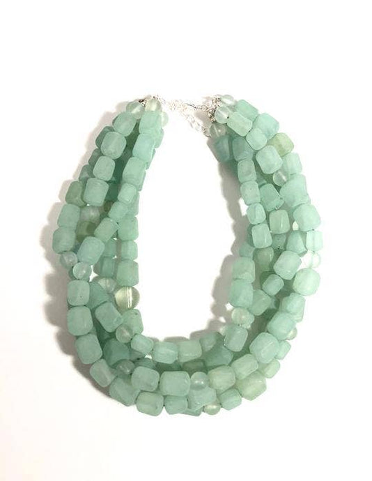 Leetie Lovendale - Mint Green Frosted Beaded Sylvie Necklace