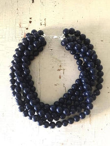 Leetie Lovendale - Navy Blue Chunky Beaded Sylvie Necklace