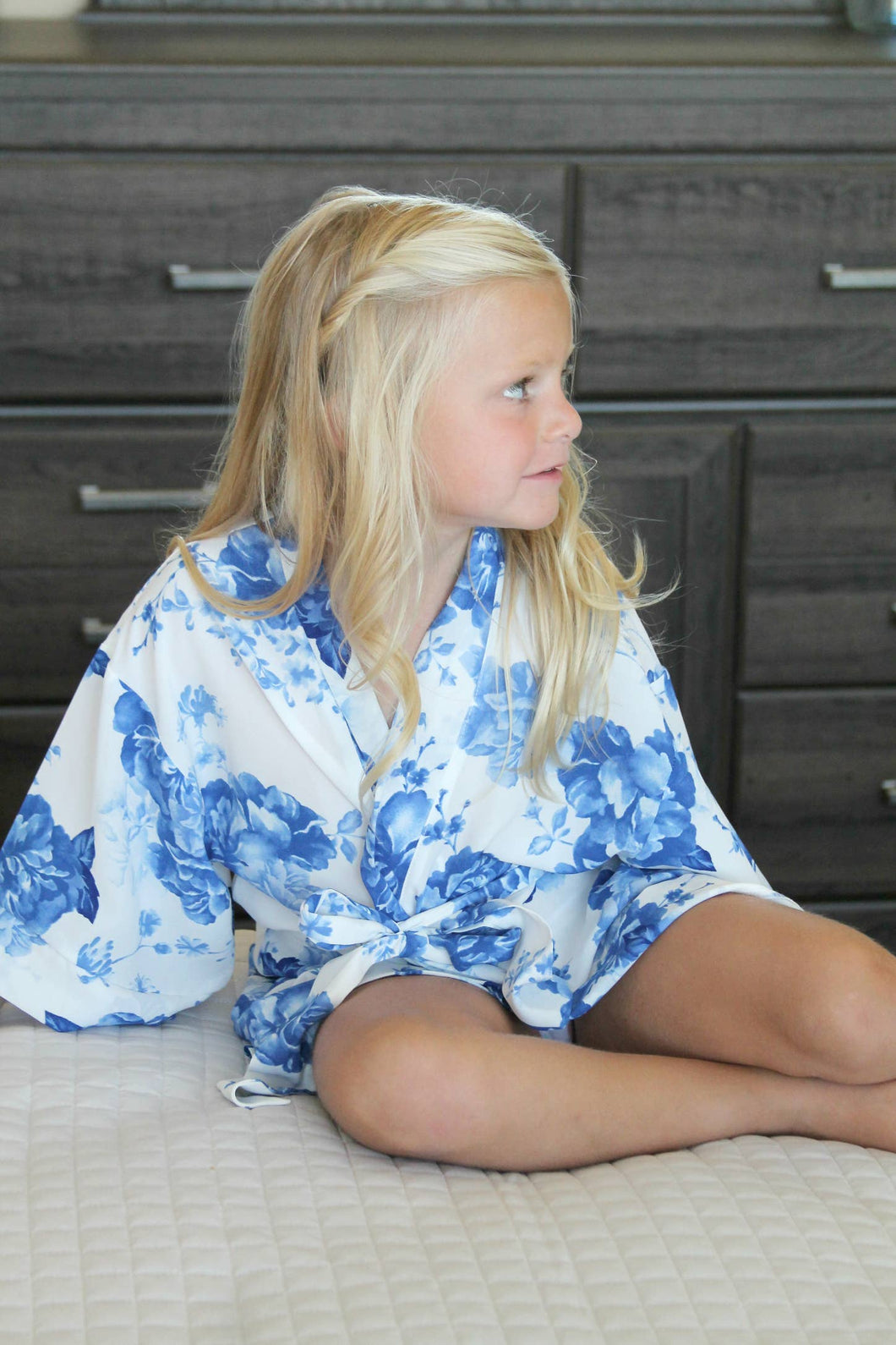 Pop Confetti - Kids Peonies Collection Robes - Blue
