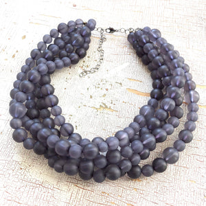 Leetie Lovendale - Dark Charcoal Grey Frosted Chunky Sylvie Necklace
