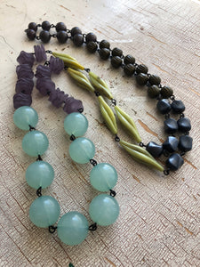 Leetie Lovendale - Mint Green Opal & Grey Olive Rosary Chained Rope Necklace