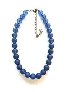 Leetie Lovendale - Denim Blue Beaded Vintage Lucite Chunky Marco Necklace