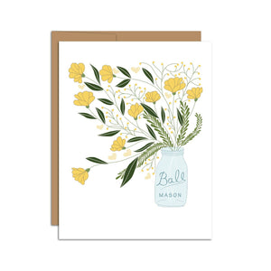 HAZELMADE - Mason Jar Bouquet  Botanicals  Greeting Card
