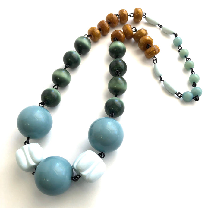 Leetie Lovendale - Ice Blue & Butterscotch Carmen Necklace