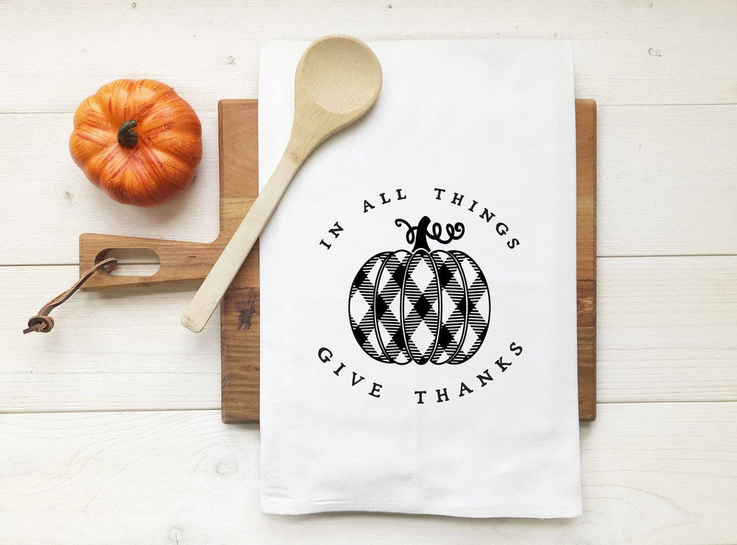 Kitch Studios - In All Things Give Thanks Plaid Pumpkin Tea Towel