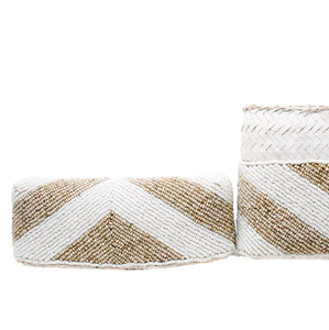 POPPY + SAGE - Zoe Beaded Clutch: Natural / White