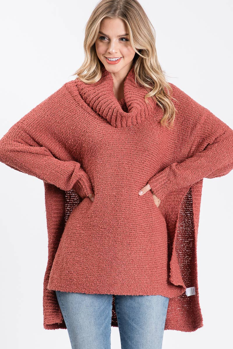 Allie Rose - Solid High low Loose Turtleneck Sweater - Cognac