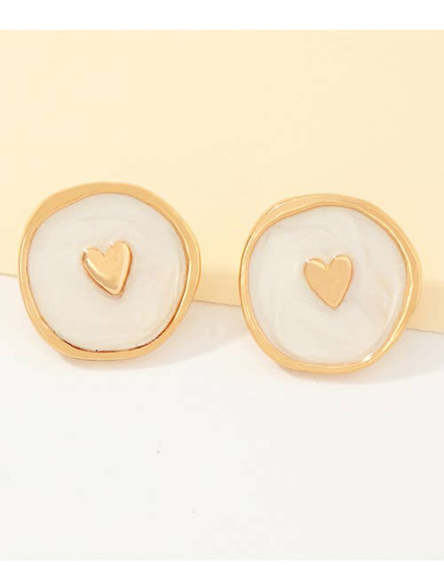 Koko and Lola - White Enamel Love Heart Earrings