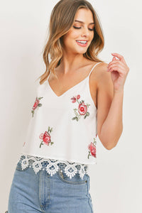 Sweet Rain - Embroidered Floral Cami