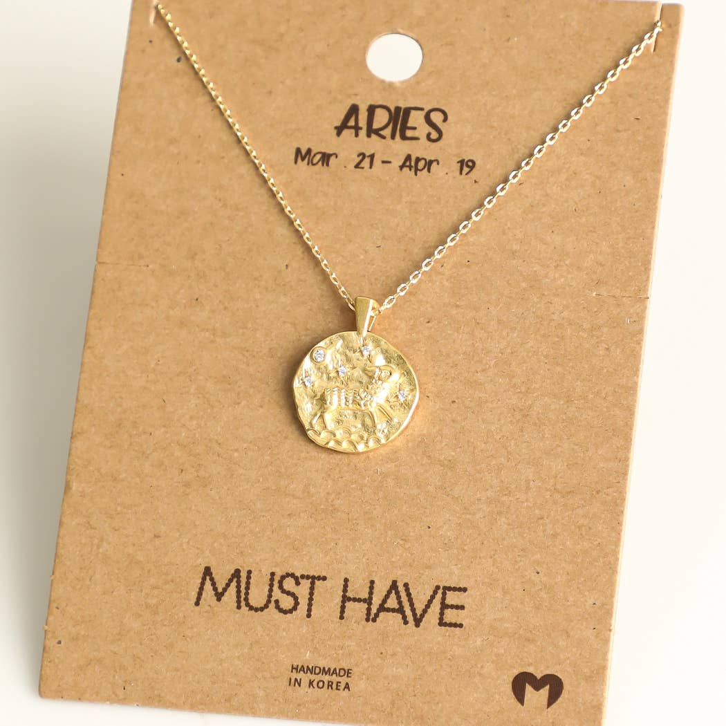 Fame Accessories - Aries Zodiac Coin Necklace