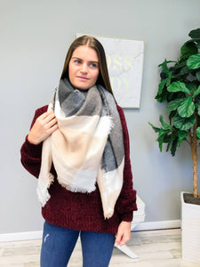 Prep Obsessed Wholesale - Plaid Blanket Scarf - Blush