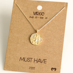 Fame Accessories - Virgo Zodiac Coin Necklace