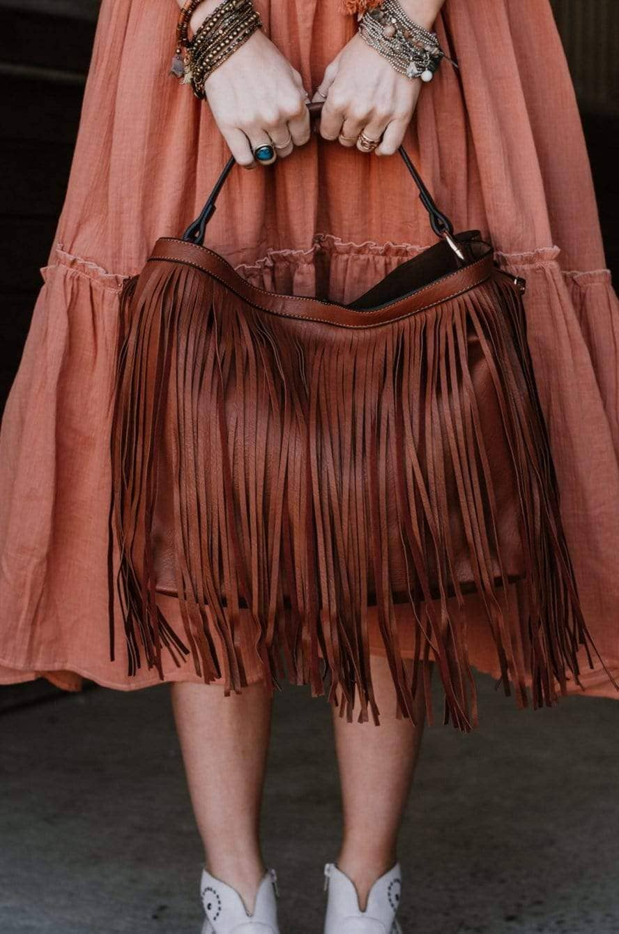 Three Bird Nest - Precious Holdings Fringed Hobo Bag - Brown