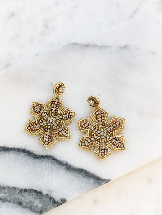 Prep Obsessed - Beaded Glitzy Snowflake Statement Earrings - Gold