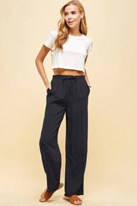 PARK ADELYN - Tencel Slub Casual Wide Leg Pant with Drawstring