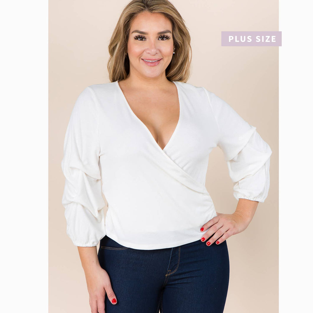 Winslow Collection - PLUS SIZE DRAPING SLEEVE FAUX WRAP KNIT TOP