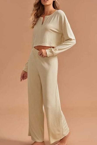 ESLEY - Zipper Front Cropped Top And Long Pant Two Pieces Set