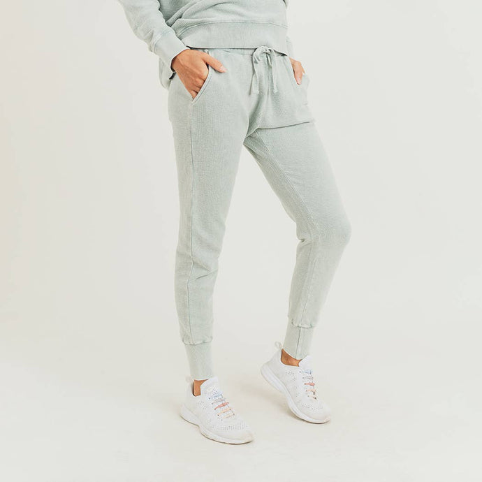 Mono B - Sage Mineral-Wash Terry Sweatpants