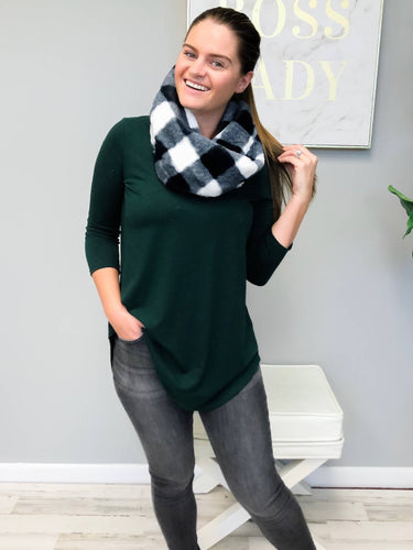 Prep Obsessed Wholesale - Buffalo Check Twist Infinity Scarf - White & Black