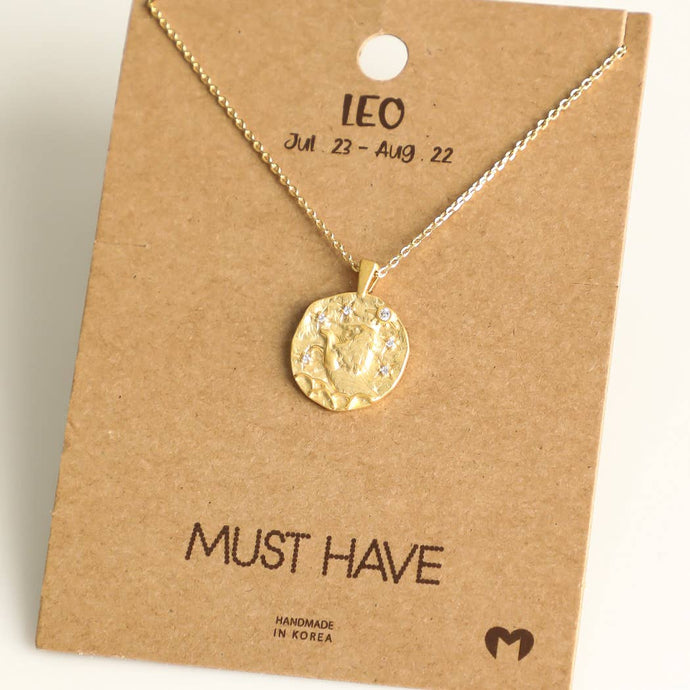 Fame Accessories - Leo Zodiac Coin Necklace