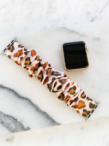 Prep Obsessed - Satin Leopard Scrunchie Smart Watch Band