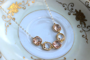Laalee Jewelry - Crystal Clear Champagne Blush Necklace