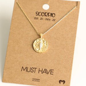 Fame Accessories - Scorpio Zodiac Coin Necklace