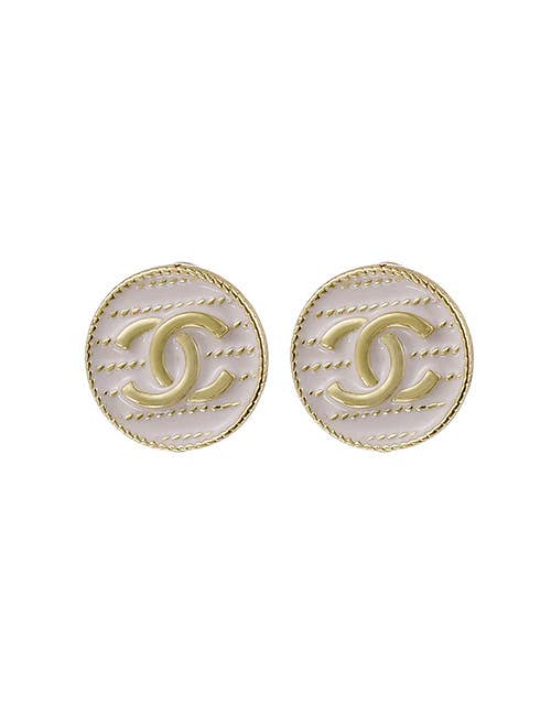 Koko and Lola - Sadie White Enamel Gold Double C Stud Earrings