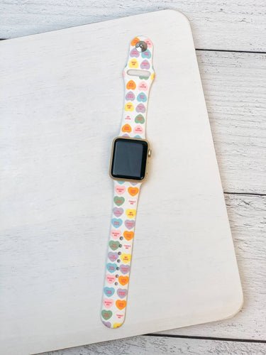 Prep Obsessed Wholesale - Candy Hearts Printed Silicone Smart Watch Band - M/L