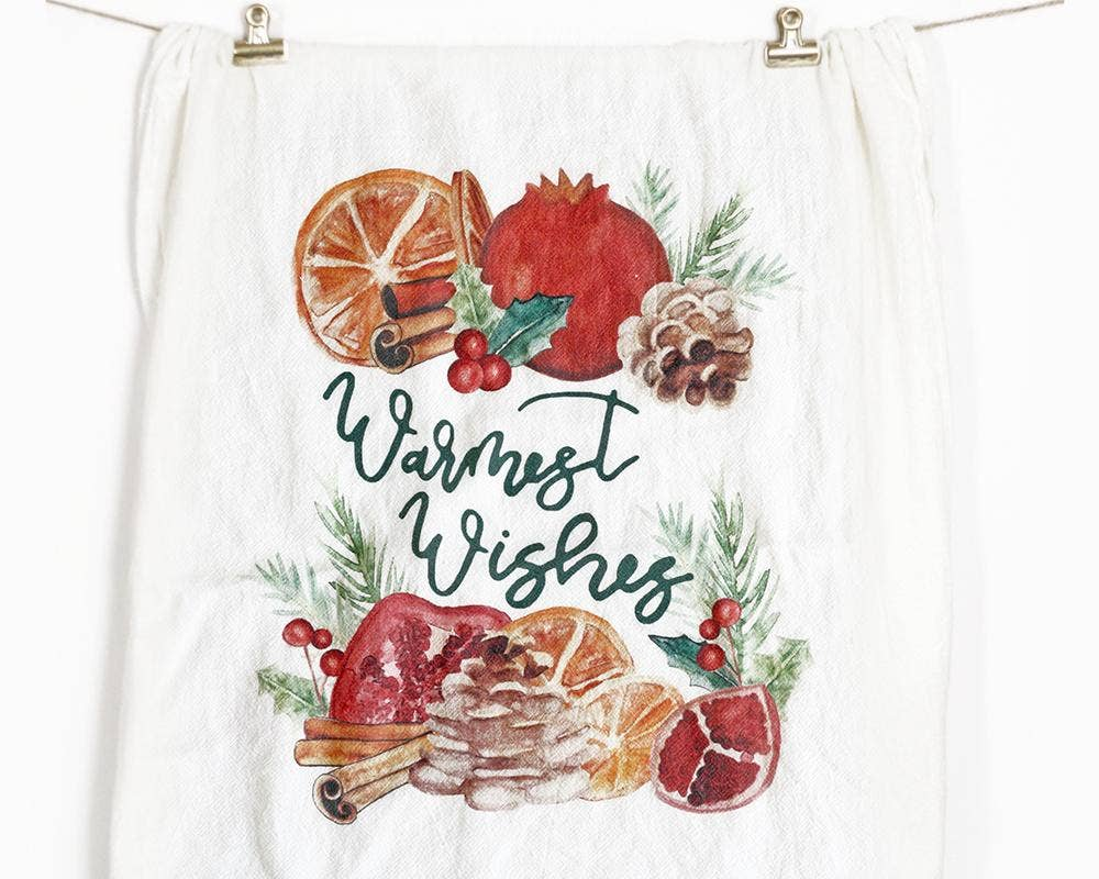 Honey Brush Design - Warmest Wishes Tea Towel