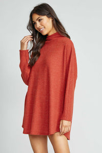Sadie & Sage - Homeward Waffle Knit Top: RUST