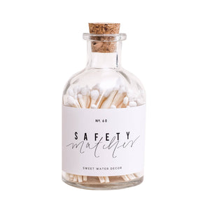 Sweet Water Decor - White Small Safety Matches - Apothecary Jar