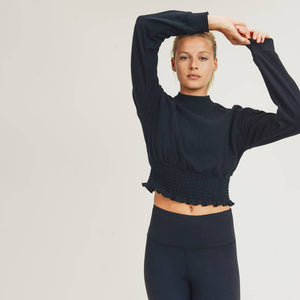 Mono B - Cropped Pullover with Shirring