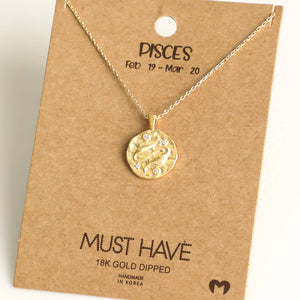 Fame Accessories - Pisces Zodiac Coin Necklace