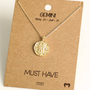 Fame Accessories - Gemini Zodiac Coin Necklace