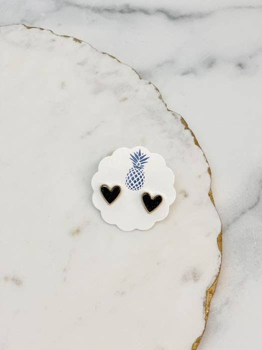 Prep Obsessed Wholesale - Druzy Heart Stud Earrings