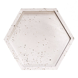 Sweet Water Decor - Natural Grey Concrete with Silver Glitter Hexagon Coaster Set of 4