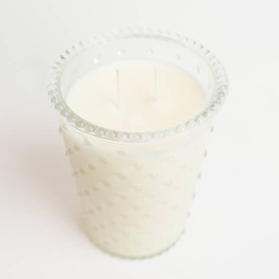 Glass Hobnail Candle