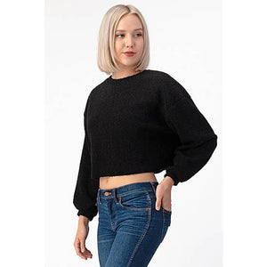 Cropped Sherpa Crew Neck Sweater