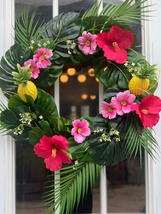 Tropical Pineapple and Hibiscus Wreath