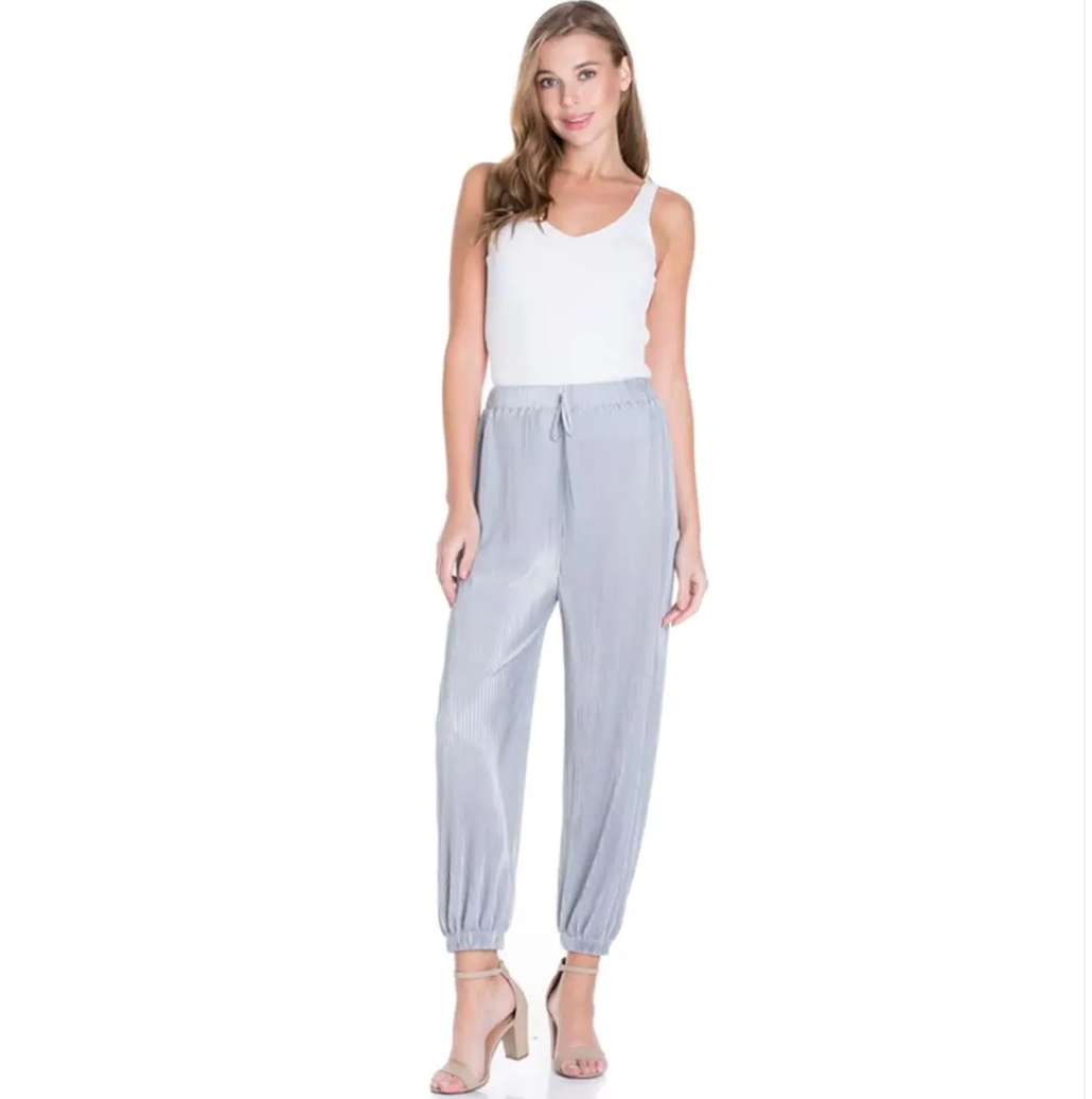 Sweet Rain - Silk Pleated Joggers Silver