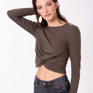 Avenue Zoe - Long Sleeve Cropped Top with Knotted Front