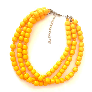 Leetie Lovendale - Marigold Mustard Fluted Multi Strand Morgan Necklace