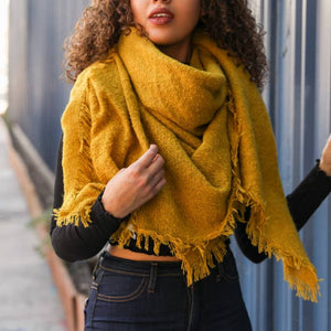 Leto Accessories - Solid Marl Woven Blanket Scarf