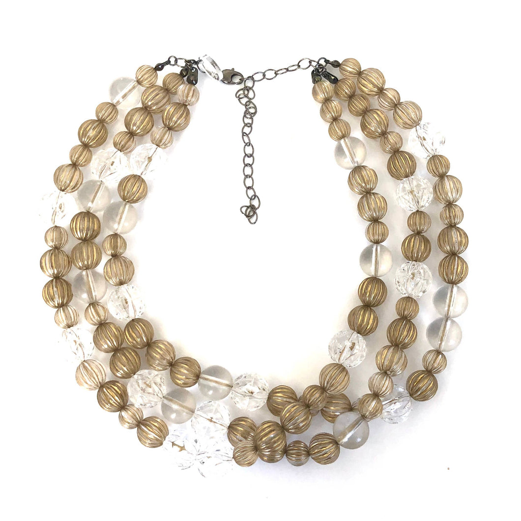 Leetie Lovendale - Gold Washed Clear Fluted Morgan Necklace