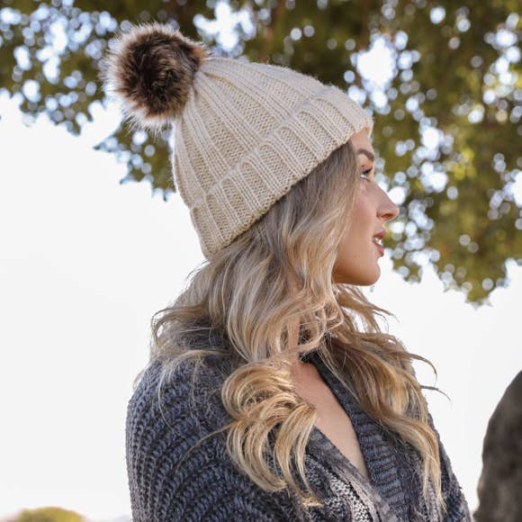 Leto Accessories - Ribbed Faux Fur Pom Beanie