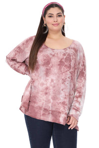 T-Party - PLUS SIZE - TIE DYE ROUND NECK LONG SLEEVE TOP