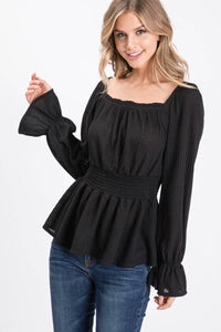 Allie Rose - Solid Waffle Material Long Sleeve Blouse - Black