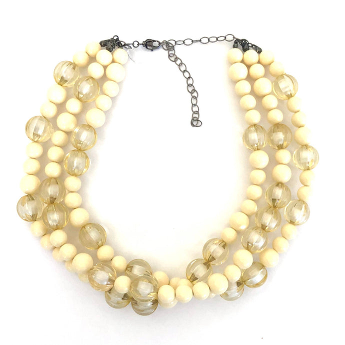 Leetie Lovendale - Ivory & Cream Givre' Morgan Beaded Necklace